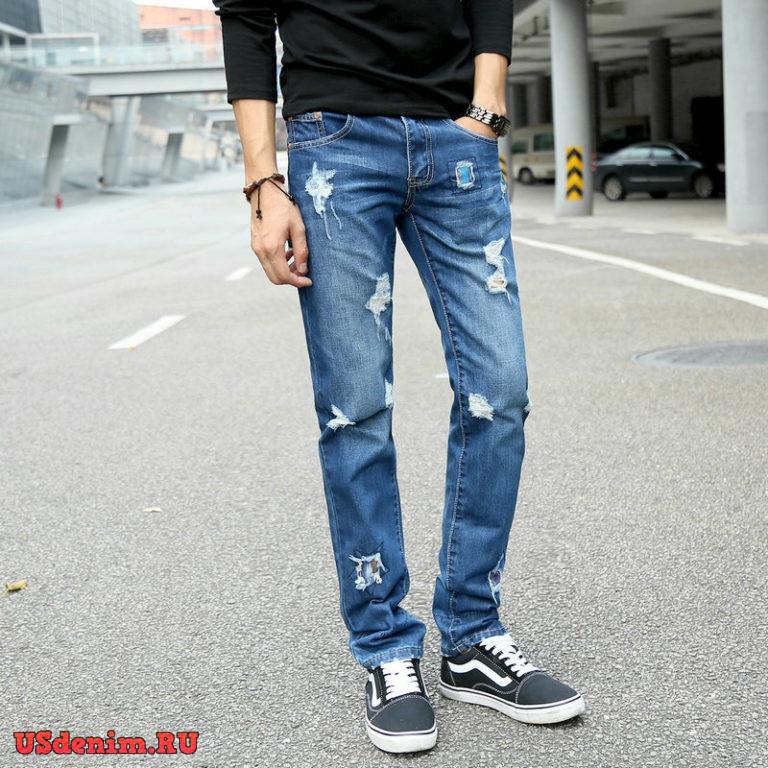 мужские рваные джинсы 2021