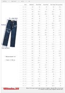 Таблица размеров джинсов Levis